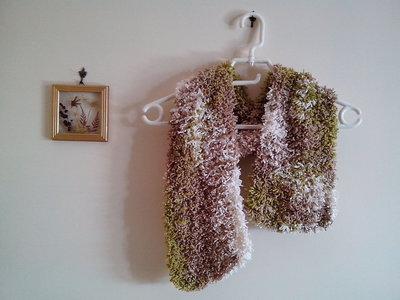 Sciarpa effetto pelliccia, fatta ai ferri, ragazze, donne, autunnoinverno, melange verde marrone