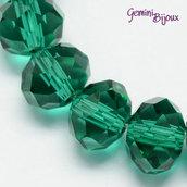 Lotto 10 rondelle in vetro sfaccettate 10x7 verde smeraldo