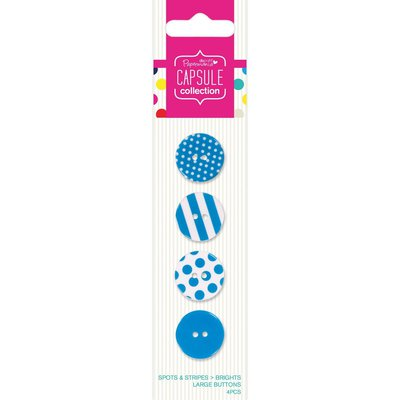 Set 4 bottoni - Spots & Stripes Brights Blue