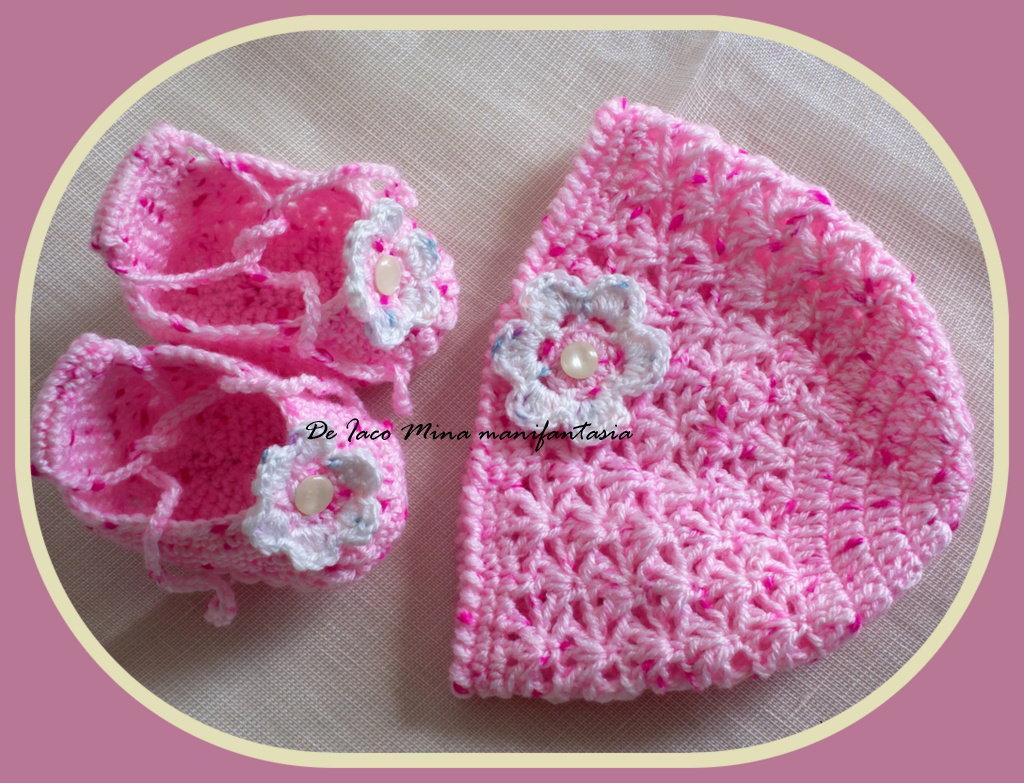 scarpine e berretto uncinetto neonato bimba rosa melange
