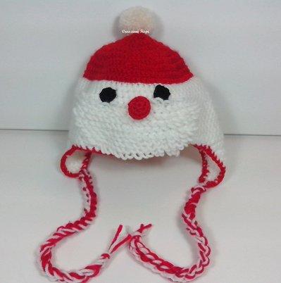 Cappellino Neonato fatto a uncinetto Babbo Natale
