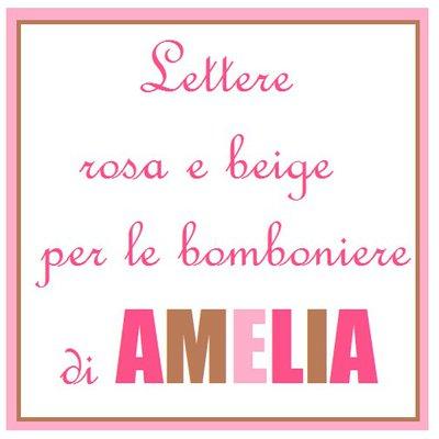 Letterina A rosa e beige per le bomboniere del battesimo di Amelia