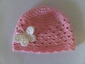 Cappellino Rosa di cotone con farfalla