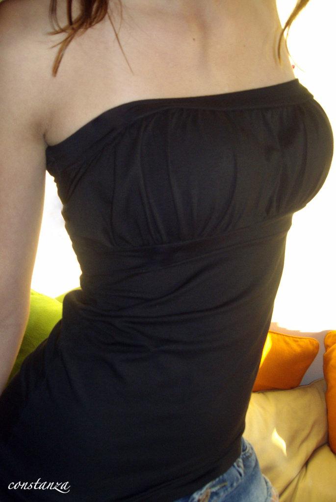 TOP nero DRAPPEGGIO SEXY maglia BUSTINO fascia CORPETTO donna FASHION