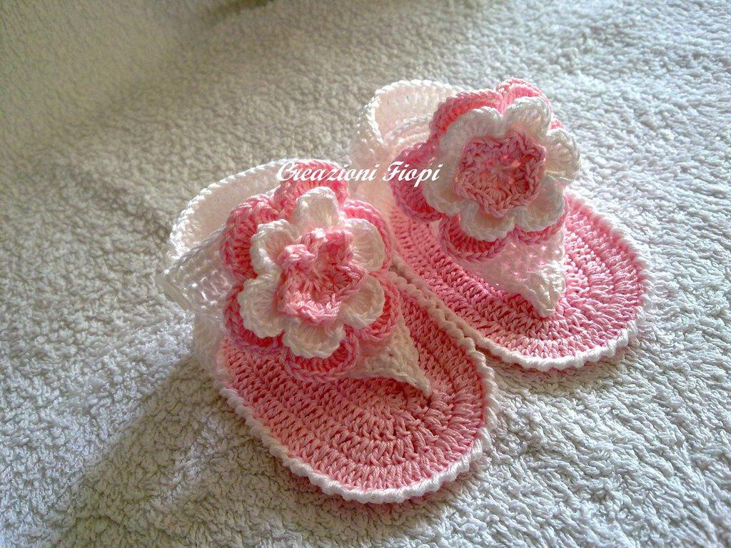 Infradito Neonato A Uncinetto Rosa Bambini Abbigliamento Di