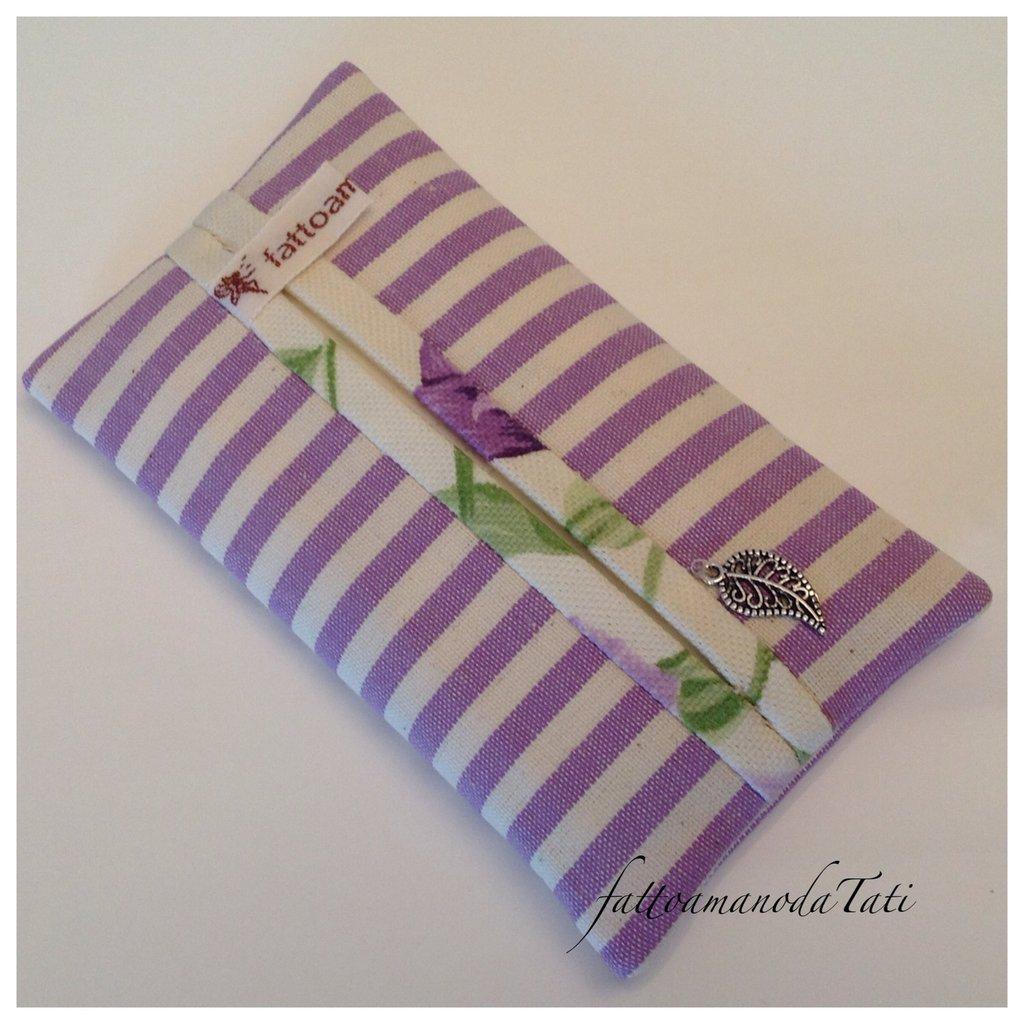 Porta fazzoletti da borsa in cotone a righe lilla