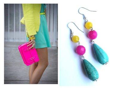 "Orecchini ""Colorful tuquoise"" con turchese blu agata gialla e fucsia"