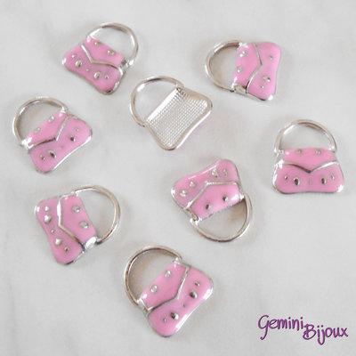 Charm smaltato in alluminio, Borsetta rosa, mm. 17x19