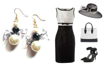 """Orecchini """"White pearl bow"""" con perla bianca, cristallo nero e nastrino"""