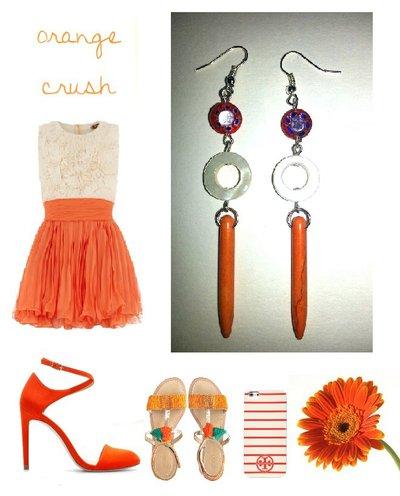"""Orecchini """"Orange lines"""" con turchese arancione, madreperla e millefiori"""