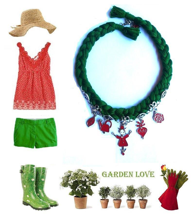 """Girocollo / collana """"Garden necklace"""" verde con ciondoli in metallo smaltati in rosso"""