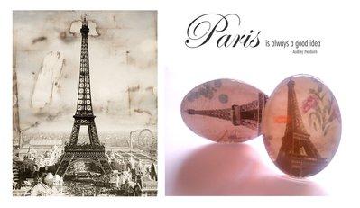 """Anello regolabile """"Paris"""" cabochon ovale con immagine Parigi"""
