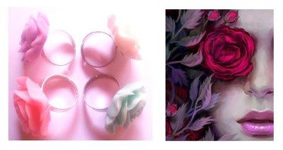 """Anello regolabile """"Rose"""" rosa in resina colori rosa, lilla, bianco, verde"""