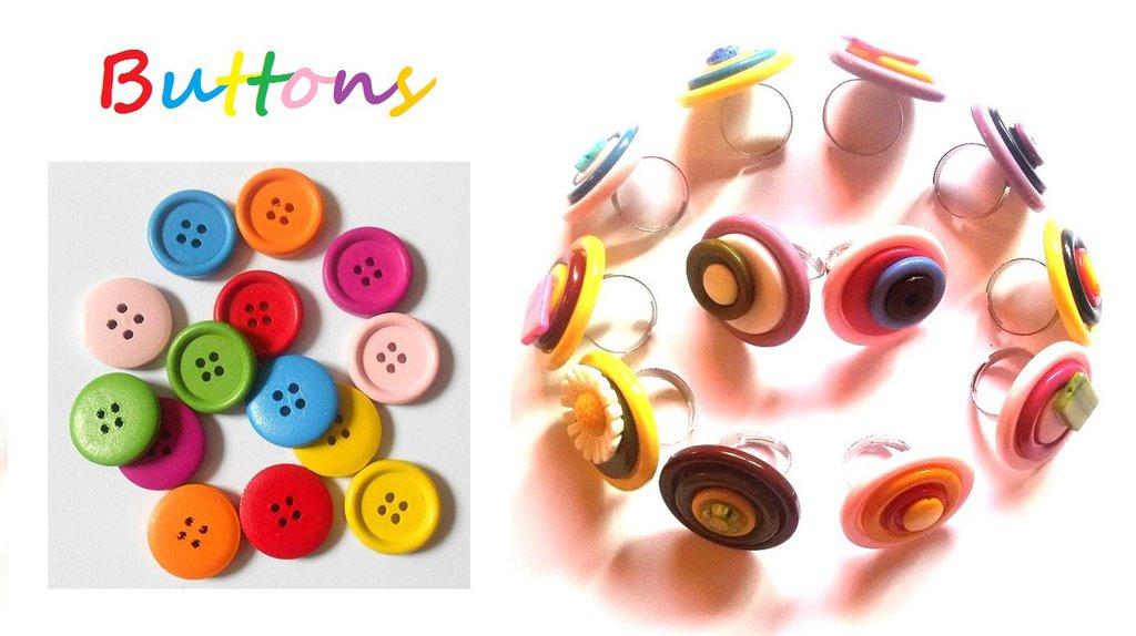 """Anello regolabile """"Button"""" bottoni con pietre semipreziose"""