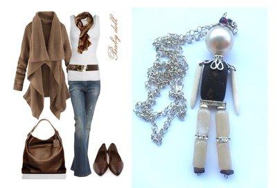 """Collana/pendente """"Brown doll"""" bambolina con pietre in turchese, resina, ceramica, madreperla"""
