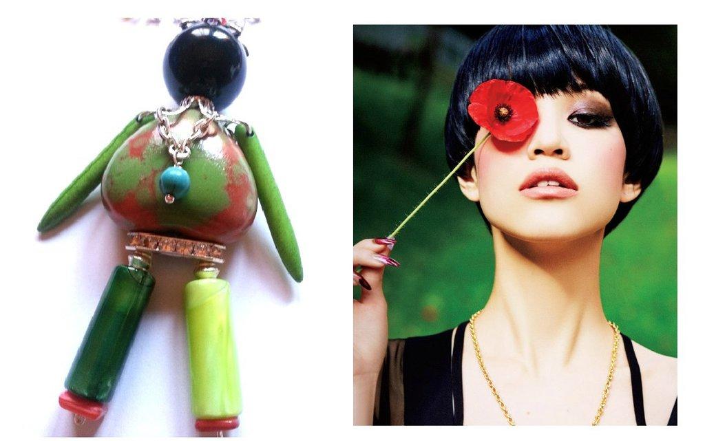 """Collana """"Green doll"""" agata e turchese verdi, bambolina con pietre in ceramica, resina, madreperla, cristalli, millefiori"""