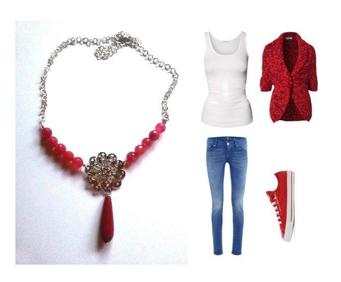 """Collana """"Flower jade"""" perle e goccia di giada rossa e fiore argentato metallico"""