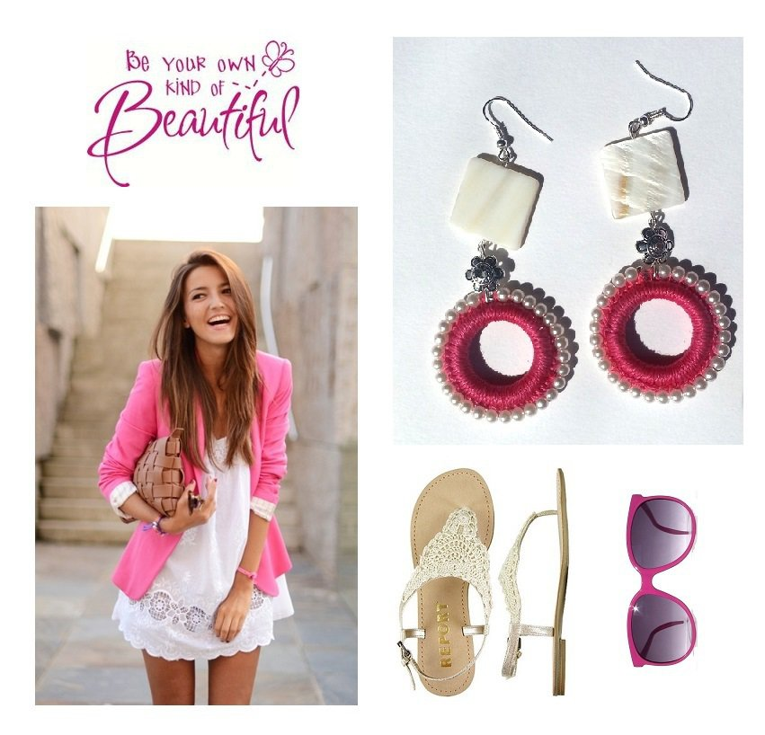 """Orecchini """"Hot pink rolls"""" uncinetto fucsia con madre perla e perline color bianco"""