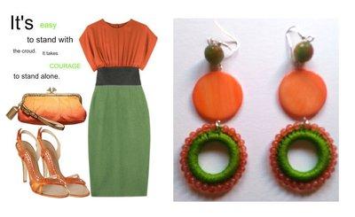 """Orecchini """"Green rolls"""" uncinetto verde con madre perla color arancio e agata"""