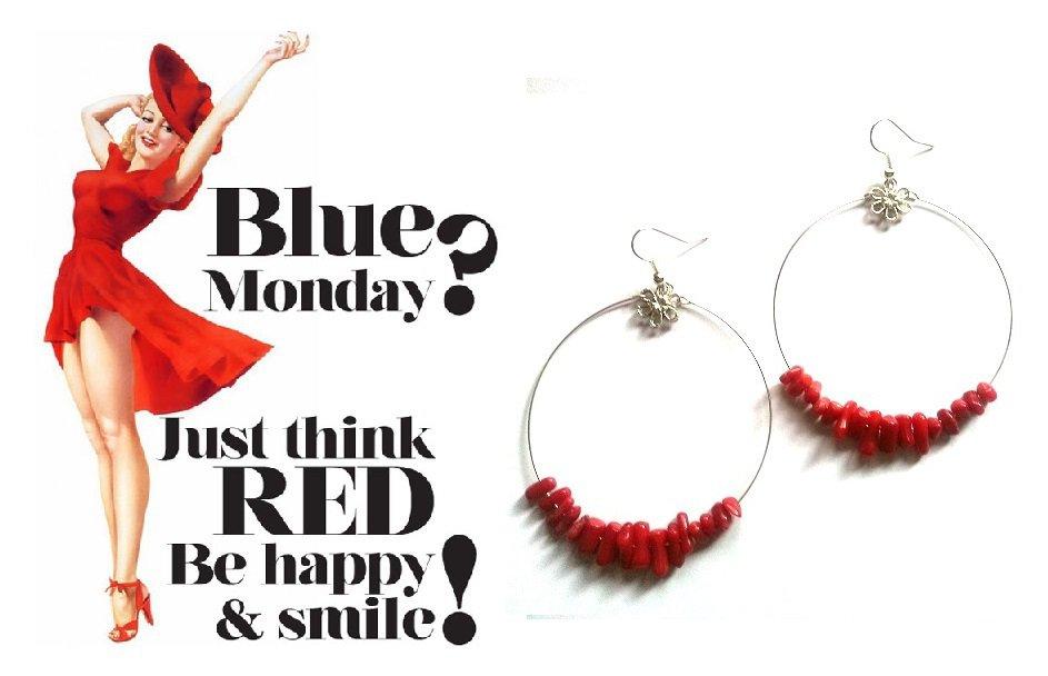 """Orecchini """"Red loops"""" a cerchio color argento con chips di corallo rosso"""