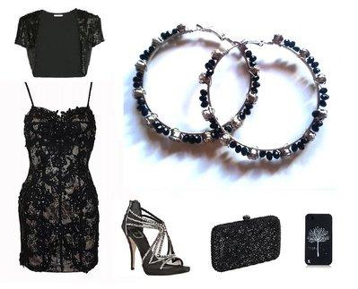"""Orecchini a cerchio """"Black crystals"""" con cristalli swarovski neri e bianchi/trasparenti"""