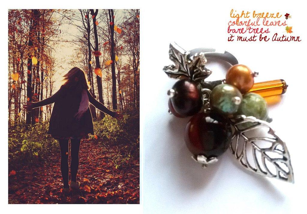 "Anello regolabile ""Autumn"" perla, corniola, vetro, foglie"