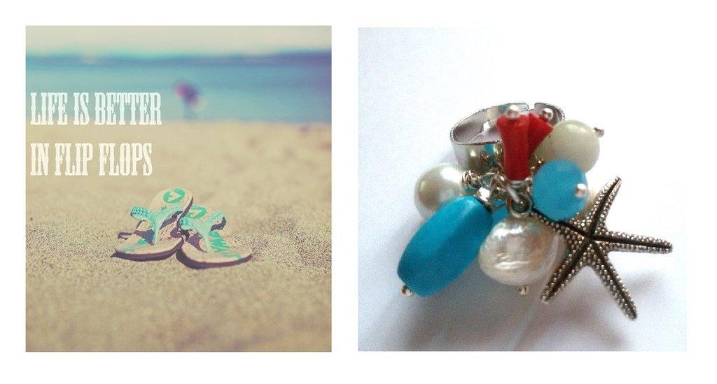 """Anello regolabile """"Summer"""" turchese, agata, perle, cristalli, corallo, stella di mare"""