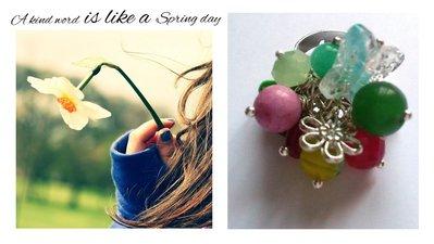 """Anello regolabile """"Spring"""" agata, cristalli, millefiori, farfalla, fiore"""