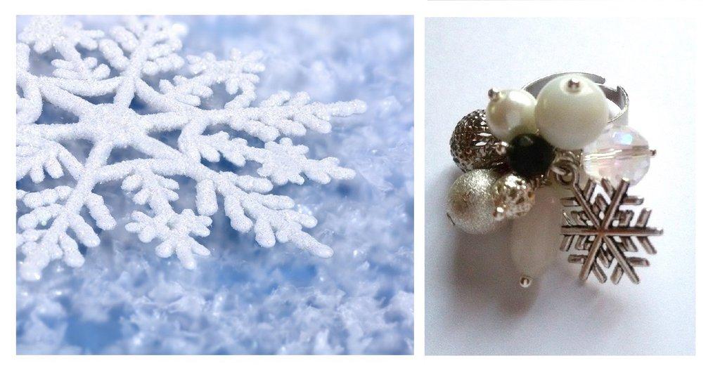 """Anello regolabile """"Winter"""" agata, quarzo, perla, cristallo, fiocco di neve"""