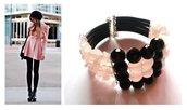"""Bracciale """"Quartz"""" nero e rosa, quarzo rosa e vetro"""