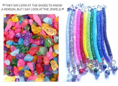 """Bracciali """"Colorful crystals"""" rete tubolare con cristalli 12 colori"""