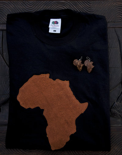 T-shirt 100% Organic AFRICA - Bianca o nera unisex (Taglia M)