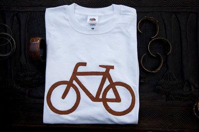 T-shirt 100% Organic BICICLE - Bianca unisex (Taglia M)