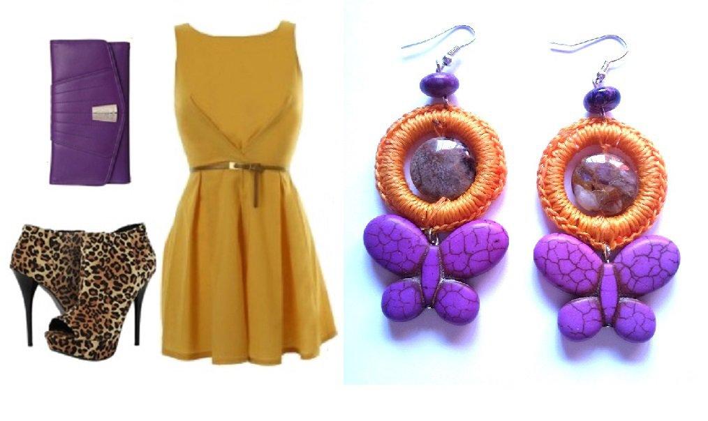 """Orecchini """"Purple rolls"""" uncinetto giallo con farfalla in turchese e ametista viola"""