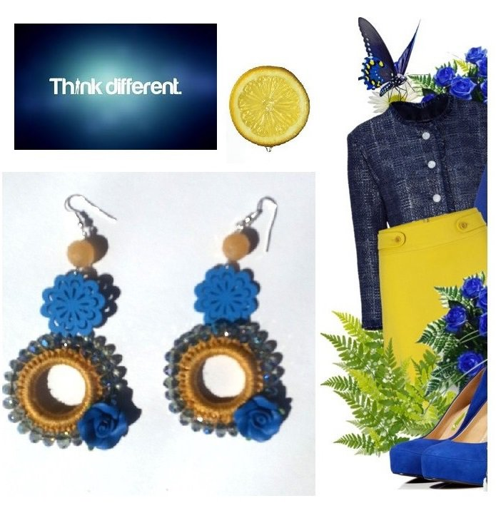"""Orecchini """"Yellow rolls"""" uncinetto giallo con cristalli swarovski, rosa, fiore in legno blu e agata"""