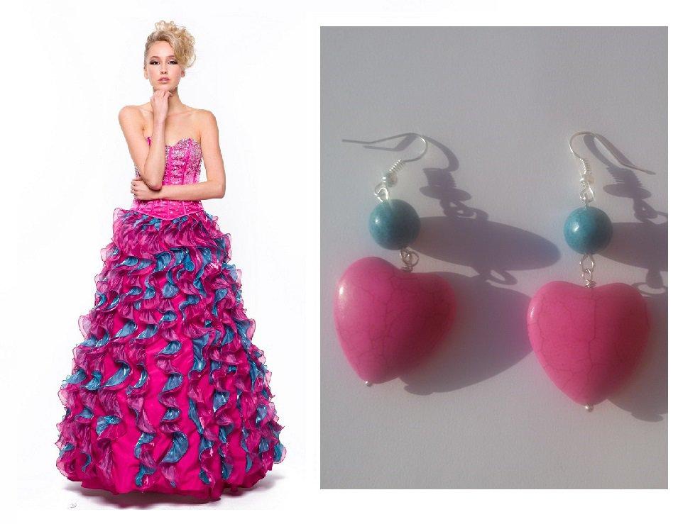 """Orecchini """"Pink hearts"""" cuore in turchese fucsia con pietre color blu"""