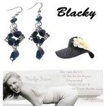 """Orecchini """"Starry mono black"""" argentati con cristalli swarovski neri"""