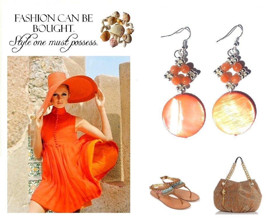 """Orecchini """"Starry orange"""" con madreperla e agata arancione"""