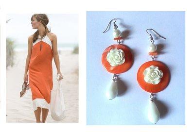 "Orecchini ""Orange roses"" con madreperla e rose e cristalli bianchi"