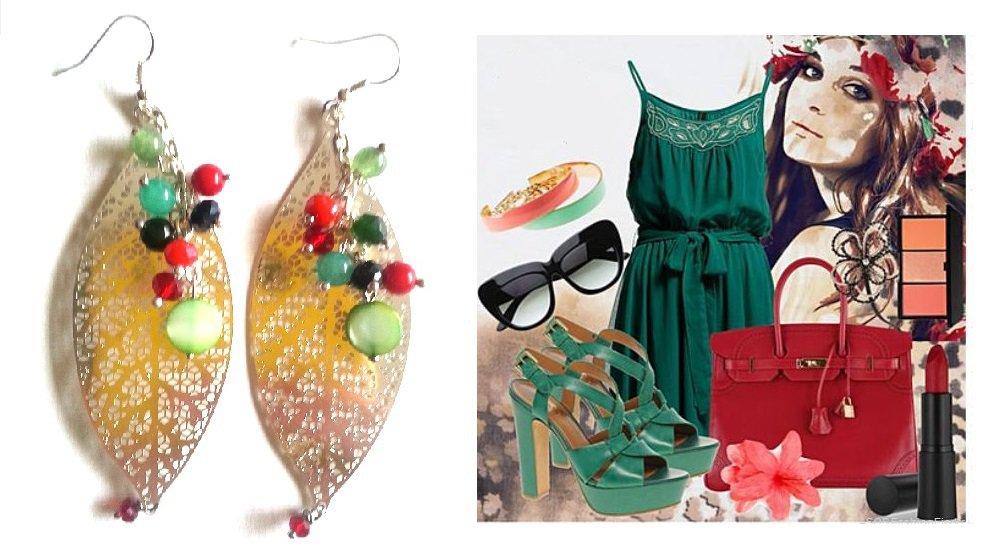 """Orecchini """"Silver leaves"""" foglie argentate con agata e madre perla verde e rosso"""