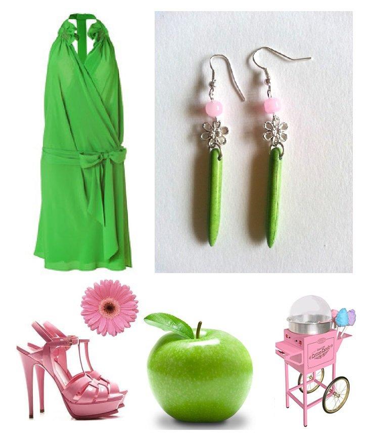 """Orecchini """"Green lines"""" turchese verde, quarzo rosa e fiore argentato"""