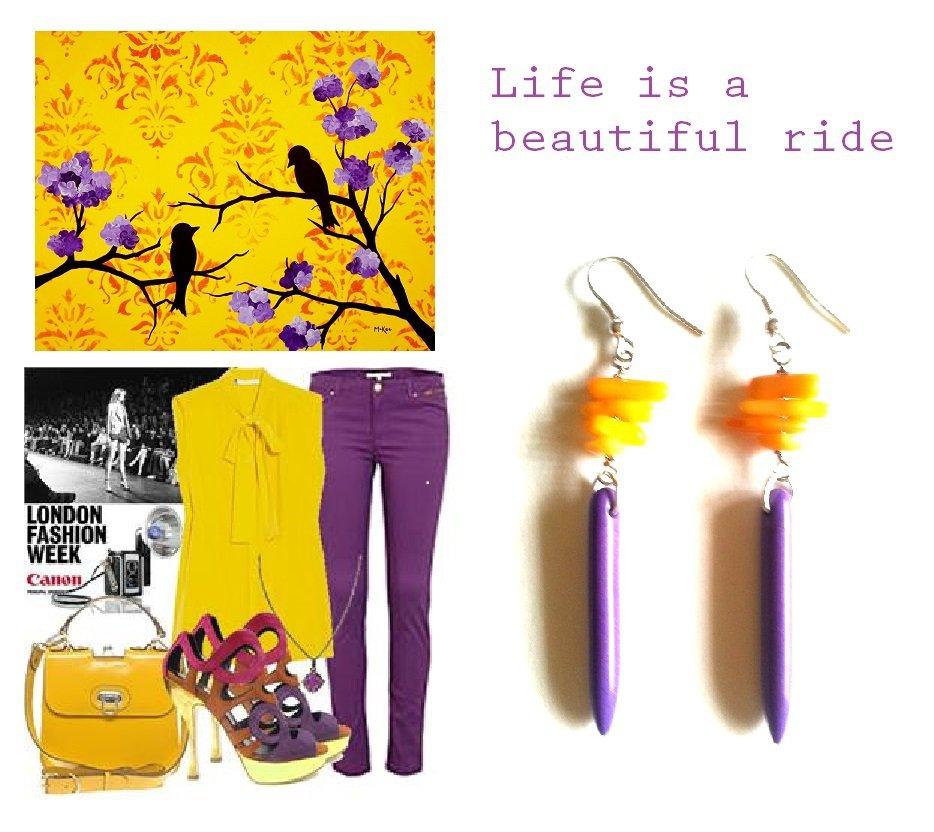 """Orecchini """"Purple lines"""" con turchese viola e corallo giallo"""