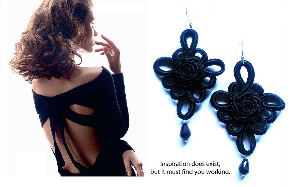"""Orecchini """"Black lace"""" alamari / soutache neri con cristalli swarovski"""