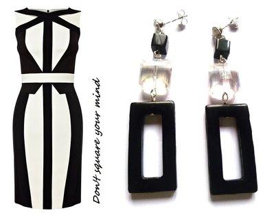 """Orecchini """"Rectangle crystal"""" con cristallo trasparente, onice e resina rettangolare nera"""