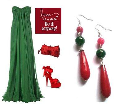 """Orecchini """"Green red drop"""" giada rossa e agata verde"""
