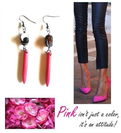 """Orecchini """"Hot pink lines"""" turchese fucsia e pietra semipreziosa nera"""