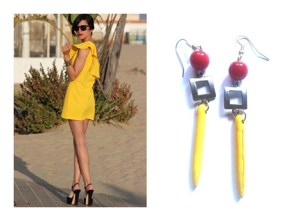 """Orecchini """"Yellow square lines"""" turchese giallo, corallo rosso e metallo argentato"""