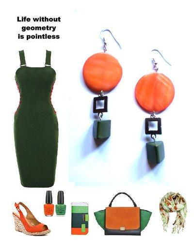 """Orecchini """"Geometric"""" con madreperla arancione e metallo"""