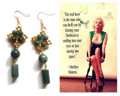 "Orecchini ""Starry green agate"" agata verde ed elementi dorati"
