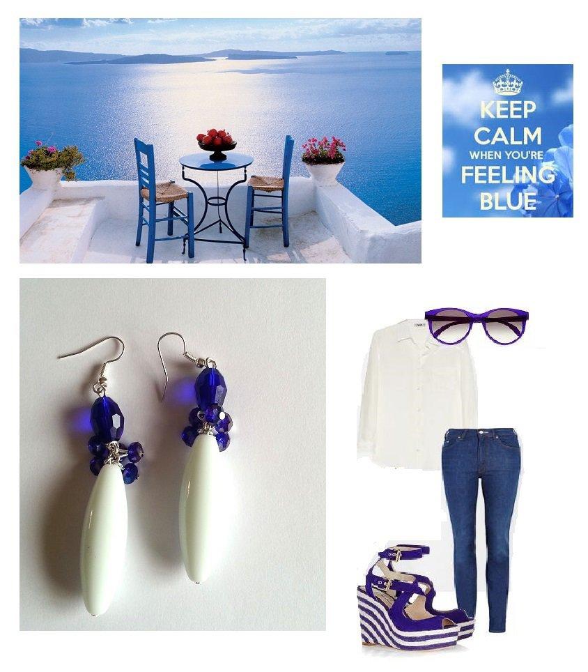 "Orecchini ""Blue crystals"" agata bianca e cristalli swarovski blu"
